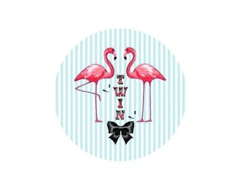 2 cabochons 12 mm glass Flamingo Pink 3-12 mm