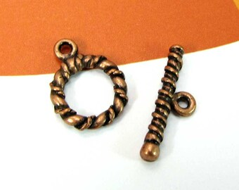 Lot 2 Toggle clasps copper twisted rings - 12 mm