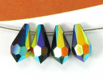 Set 4 black Jet AB Swarovski Crystal drops - 11 * 5.5 mm