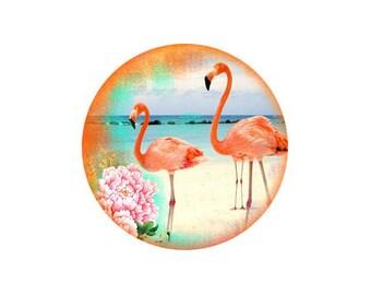 2 cabochons 16 mm glass Flamingo Pink 5-16 mm