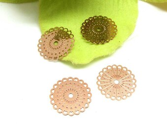 Set of 4 prints connectors small filigree rosettes gold Pale pink - 15 mm