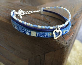 Blue MULTISTRAND bracelet in Pearl miyuki