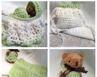 Little Girls love the carry-along Baby Bear in the Crochet Purse