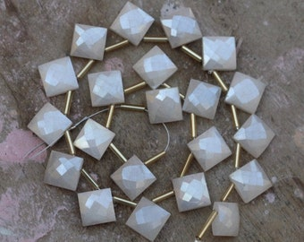 15 x 15 mm approx... 23 piece faceted heart drilled white MOONSTONE briolette beads 13 x 13