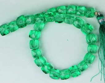 T 64 8 inch long strand faceted Green Amethyst Cube Beads 5 x 5 5 x 5.5 mm approx