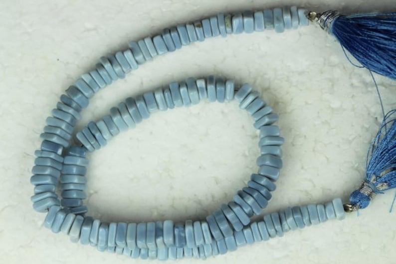2.5 x 5 16 inch long strand Blue opal chips heishi Beads M76 2 x 4 mm approx