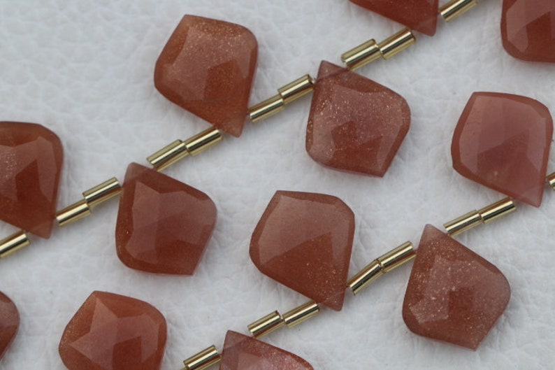 20 piece faceted fancy drilled leaf shape peach MOONSTONE briolette beads 14 x 17 mm approx...