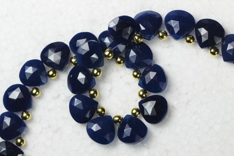 M30 10 piece faceted blue chalcedony heart Beads 11 x 11 mm approx