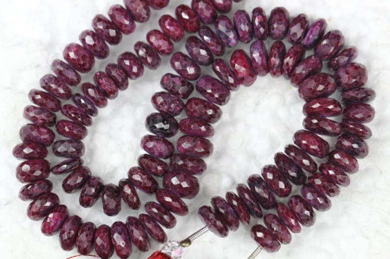 8 inch long strand Ruby Faceted Rondelles Beads 5 x 7 mm approx Low price 3 x 6 M 183