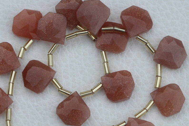 14 x 14 mm approx... 20 piece faceted fancy drilled peach MOONSTONE briolette beads 13 x 13