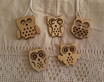 Set of 5 owls natural wooden / scrapbooking embellishments