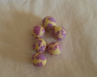 Set of 6 polymer clay beads / 10 mm / purple and yellow