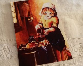Fabric tile 15 X 20 cm / sew or glue / cat for children's tale illustration