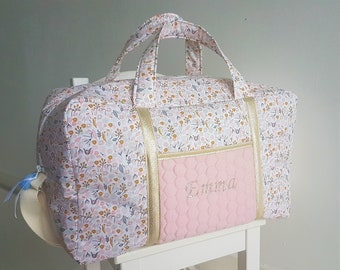 Large baby diaper bag, travel bag, fleeced liberty cotton and quited pink jersey. Baby briefcase, storage bag, weekender.