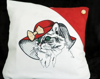 Pillow cover is the cat with Hat