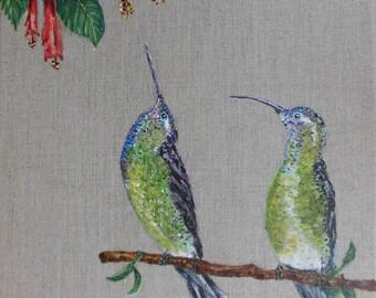 Bird painting * two hummingbirds *, animal painting