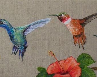 Bird painting * three hummingbirds *, animal painting