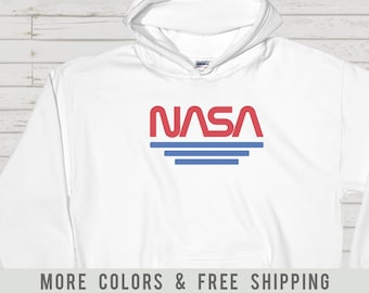 db4d6eb2 Vintage Nasa Worm Logo Red Hoodies   Awesome Retro Hooded Sweatshirts For  Vintage Retro Nasa Fans Space Lovers And Aerospace Engineers