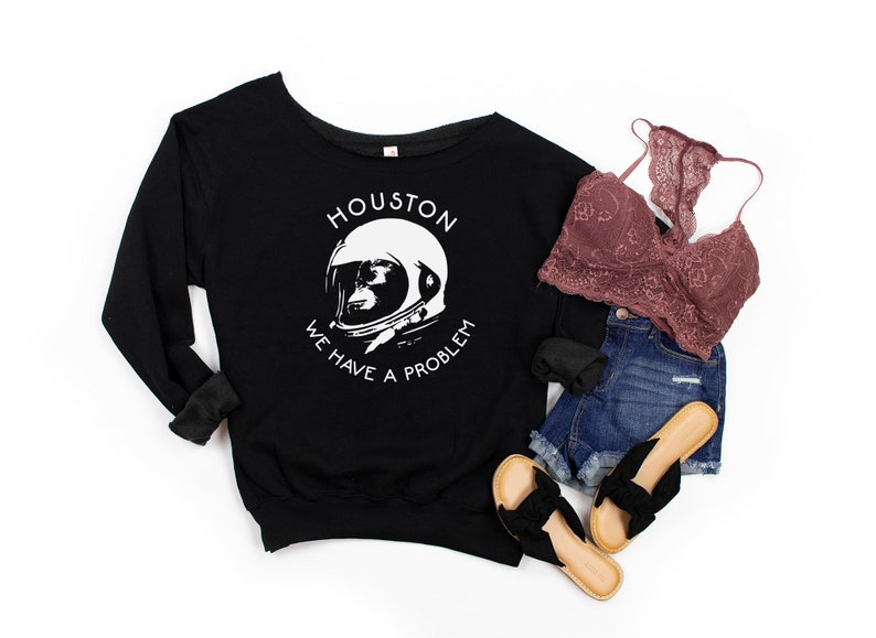 I Need My Space Force Premium Off Shoulder Sweatshirt For Houston Apollo Astronaut Fans Funny Outer Space Monkey Slouchy Sweaters