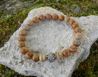 Bracelet beads wood lace stone, Pearl Silver 925, Nepalese beads, mens gift mens bracelet