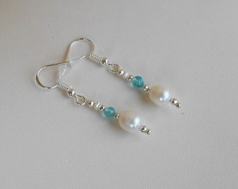 Earrings Freshwater Pearl, apatite, gift for her, 925 Silver hook beads