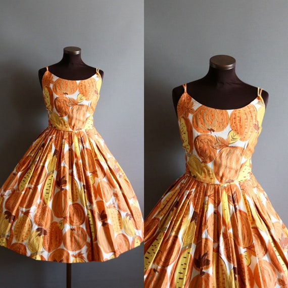 1950s Vintage Orange and Yellow Pumpkin and Fruit