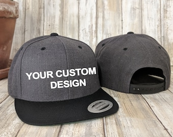 Custom Two Tone Classic Snapback / Yupoong Two-Tone Snap Back / Personalized Embroidery / Custom Baseball Cap / Structured 6-Panel Hat