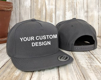 Custom 5 Panel Snapback Cap  / Yupoong Classic Snap Back / Embroidered Hat / Custom Embroidery / Your Custom Apparel / Structured 5-Panel