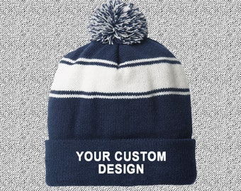 887456a4ff9 Striped Pom-Pom Beanie   Customized Beanie   Winter Apparel   Embroidered  Cap   Personalized Embroidery   Your Custom Apparel  Custom Beanie