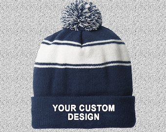 3a447326777 Striped Pom-Pom Beanie   Customized Beanie   Winter Apparel   Embroidered  Cap   Personalized Embroidery   Your Custom Apparel  Custom Beanie