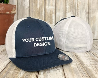 411f020ff5f Custom Flexfit Trucker Hat   Flex fit Trucker Cap   Personalized Mesh Caps    Embroidered 6 Panel   Your Custom Apparel  Bachelor Party Hats