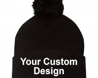 Knit Pom-Pom Beanie with Cuff   Customized Beanie   Winter Apparel    Embroidered Cap   Personalized Embroidery   Your Custom Apparel ba0ecffdff6