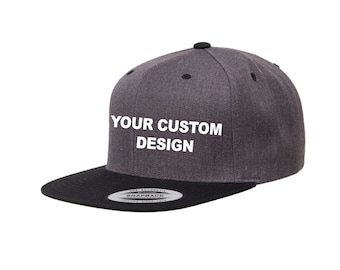 Custom Two Tone Classic Snapback   Yupoong Two-Tone Snap Back   Personalized  Embroidery   Dark Heather   Structured 6-Panel   Bachelor Hats 5ebe54767dde