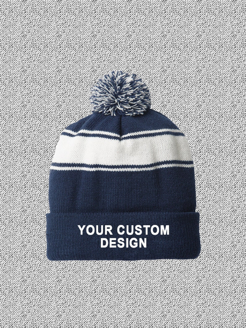 89e783ed2fe Striped Pom-Pom Beanie   Customized Beanie   Winter Apparel