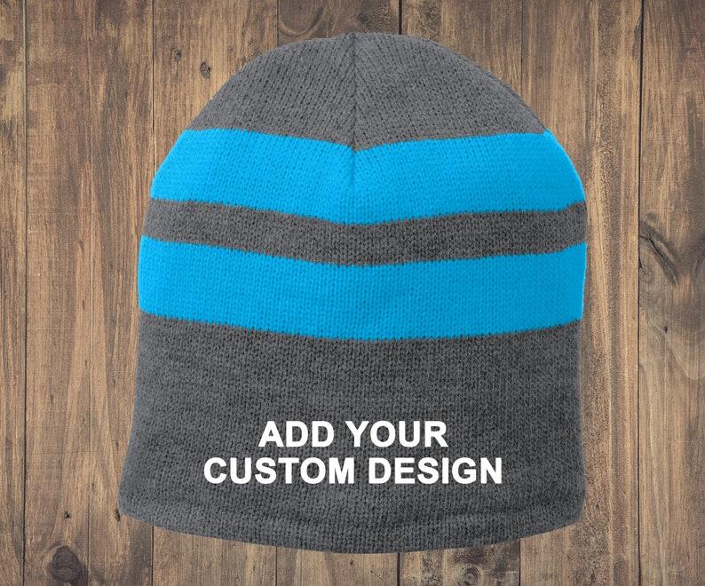 6056dde3008 Customized Fleece-Lined Striped Beanie Cap   Winter Skull Caps