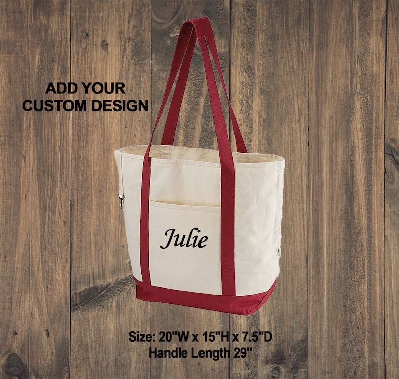 Organic Cotton Canvas Boat Tote  Custom Market Totes  Personalized Beach Bag  Bridesmaid Bags  Embroidered Tote  Certified Reusable