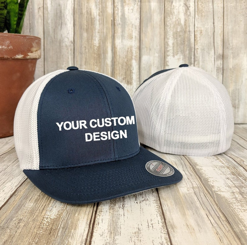 1cab3e7b7ca Custom Flexfit Trucker Hat   Flex fit Trucker Cap