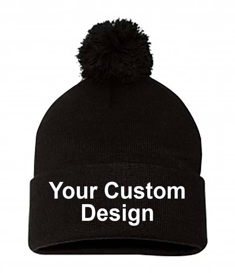 d90db29021d Knit Pom-Pom Beanie with Cuff   Customized Beanie   Winter