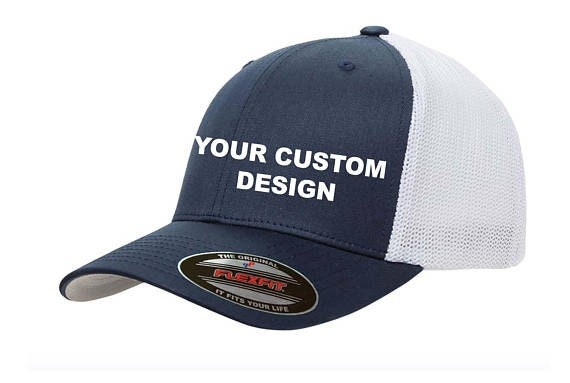 Custom Flexfit Trucker Hat   Yupoong Mesh Cap   Embroidered  16aca8a42b23