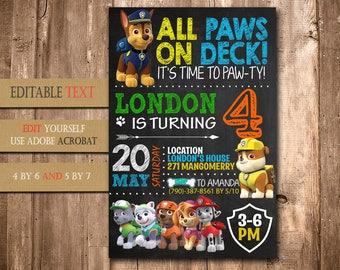 Paw Patrol, Paw Patrol Invitation, Paw Patrol Birthday, Paw Patrol Party, Paw Patrol Birthday Invitation, Paw Patrol Boy Invitation