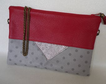 """Bag or clutch bag """"Triangle"""" red and taupe faux leather"""