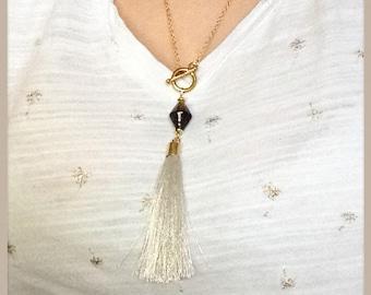 Minimalist gold tassel Lariat Necklace, Murano glass bead