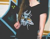 Womens T-shirt STAG-BEETLE Beetle Print V-neck Tshirt Insect Print T-shirt Denim or Black