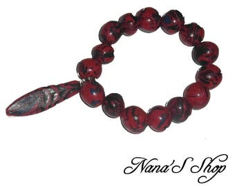 Elastic bracelet, polymer clay, black, blue & Red