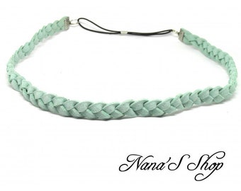 Braided suede plain, mint headband