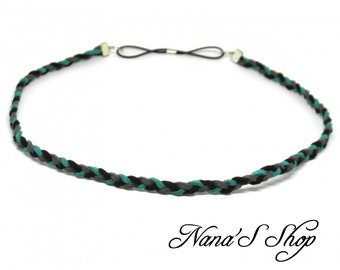 Thin, braided Suede, turquoise, black & gray headband