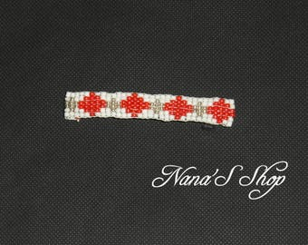 hair clip, woven, white and Red beaded