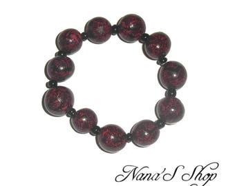 Elastic bracelet, polymer clay, black & Red