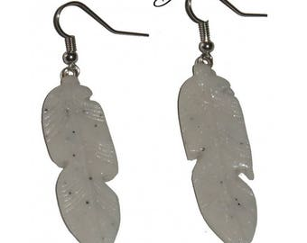 Feather earrings, white polymer clay
