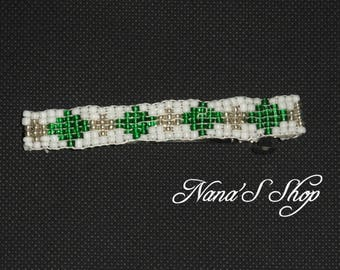 hair clip, woven, white and green beads